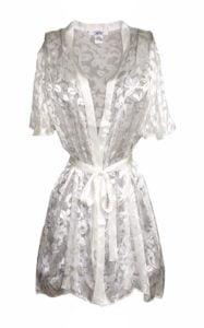 White summer silk robe