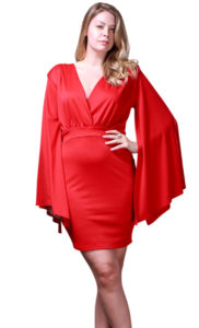 Red Angel Sleeve Dress
