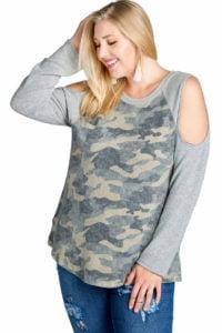 Camouflage Cold Shoulder Shirt